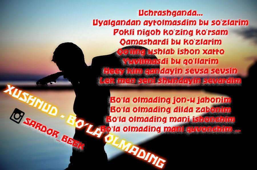 Xushnud - Bo'la olmading (Qo'shiq Matni, Lyrics, Тексты Песен)